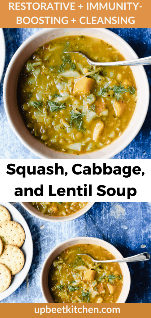 A LONG Pinterest pin with a close up of a bowl of the soup and a zoomed out photo of two bowls of the soup and the recipe title in bold lettering.