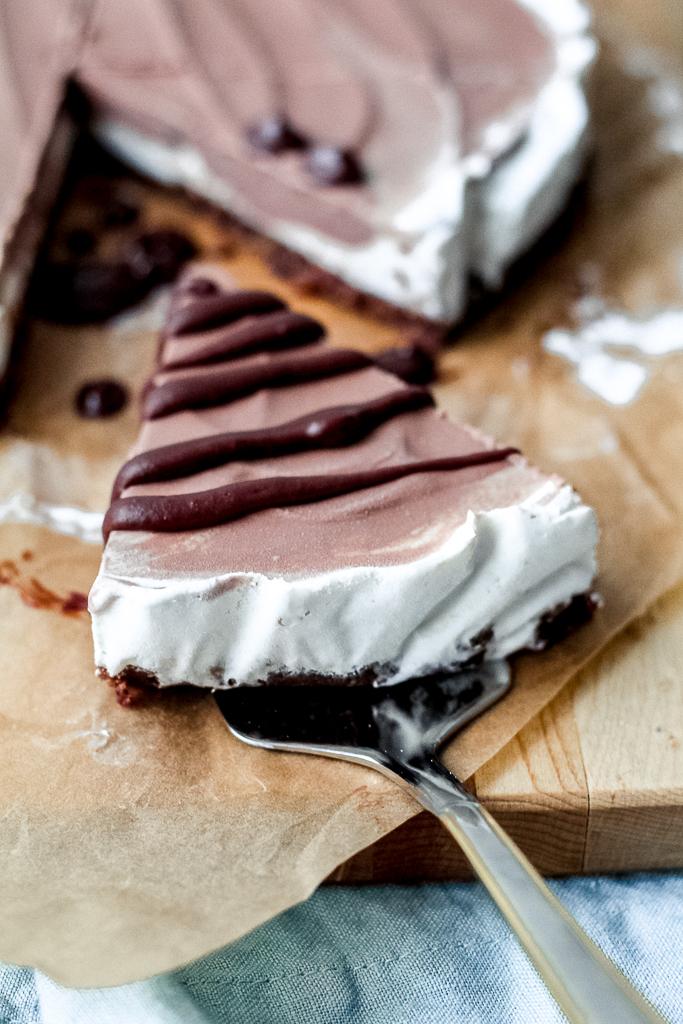 straight on shot of a slice of vegan ice cream pie