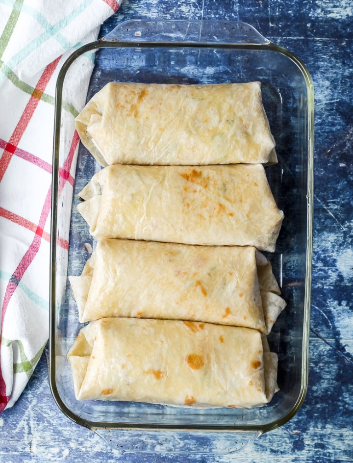 overhead shot of the burritos in a 9x13 baking dish