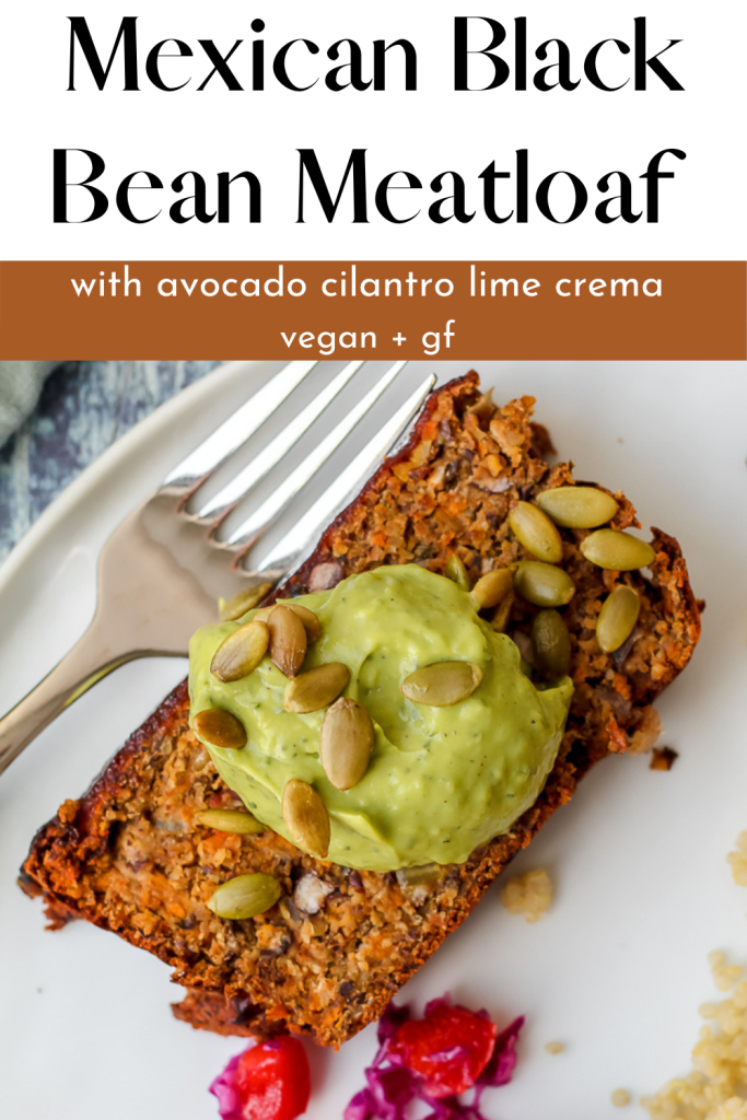 a Pinterest pin with a close up overhead shot of a slice of black bean meatloaf on a white plate and the recipe title at the top of the Pin
