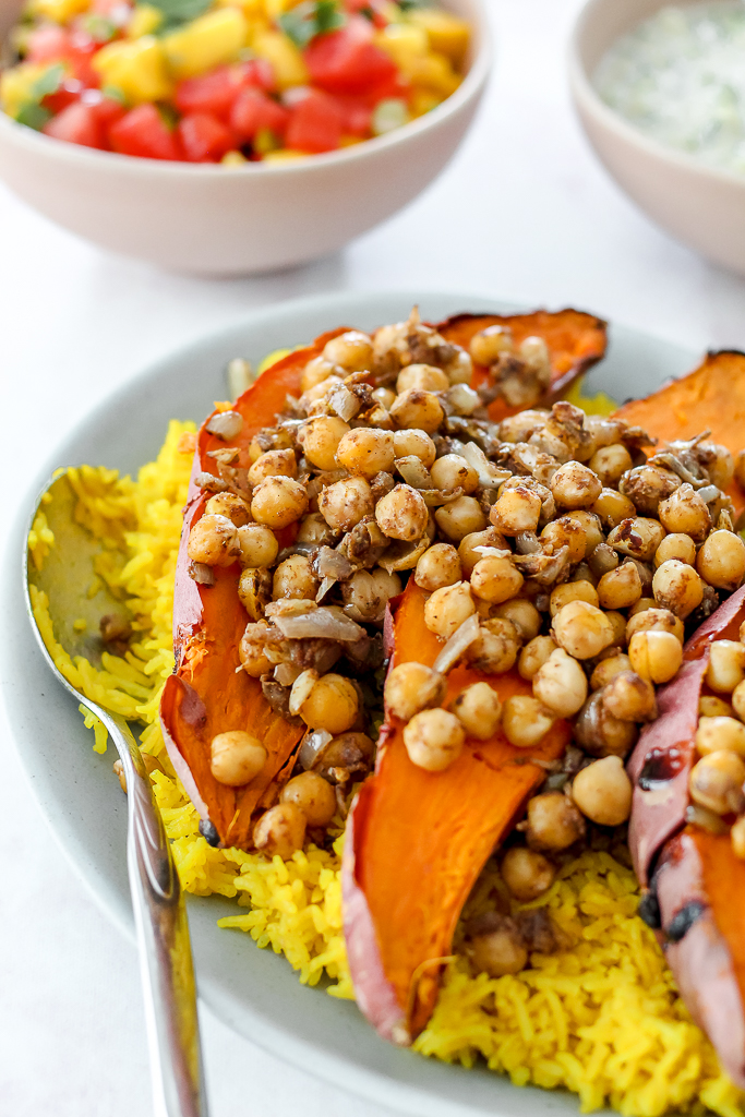 the baked sweet potatoes with masala chickpeas on top