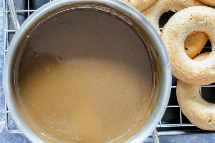 overhead shot of the caramel sauce in a pot