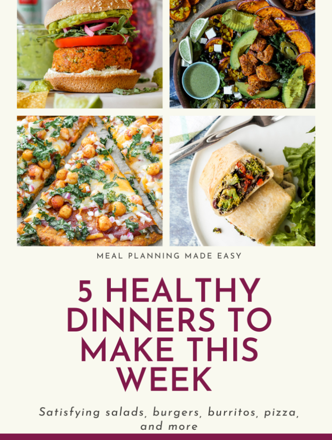 featured image, a Pinterest graphic with four photos of the meals and the post title