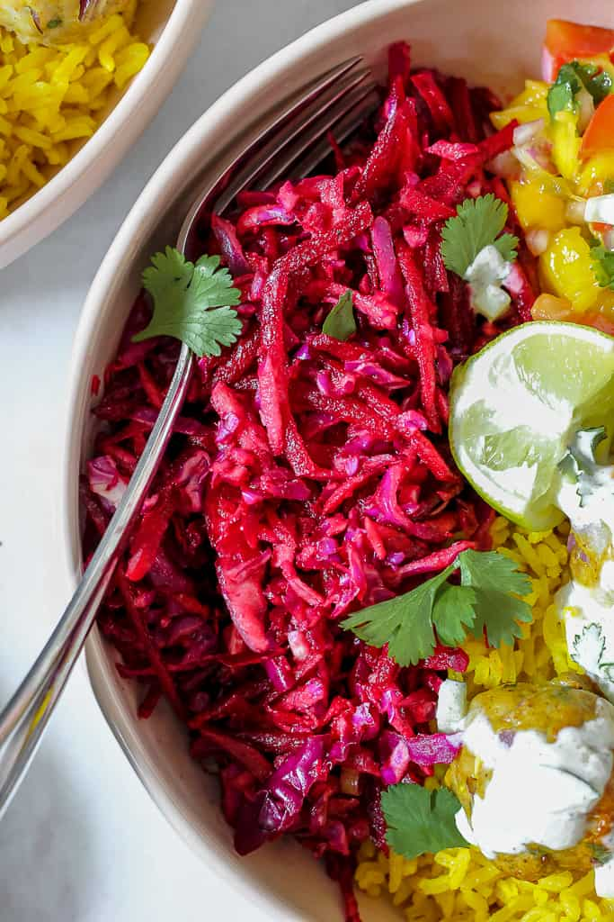 photo of the beet slaw in a pink bowl
