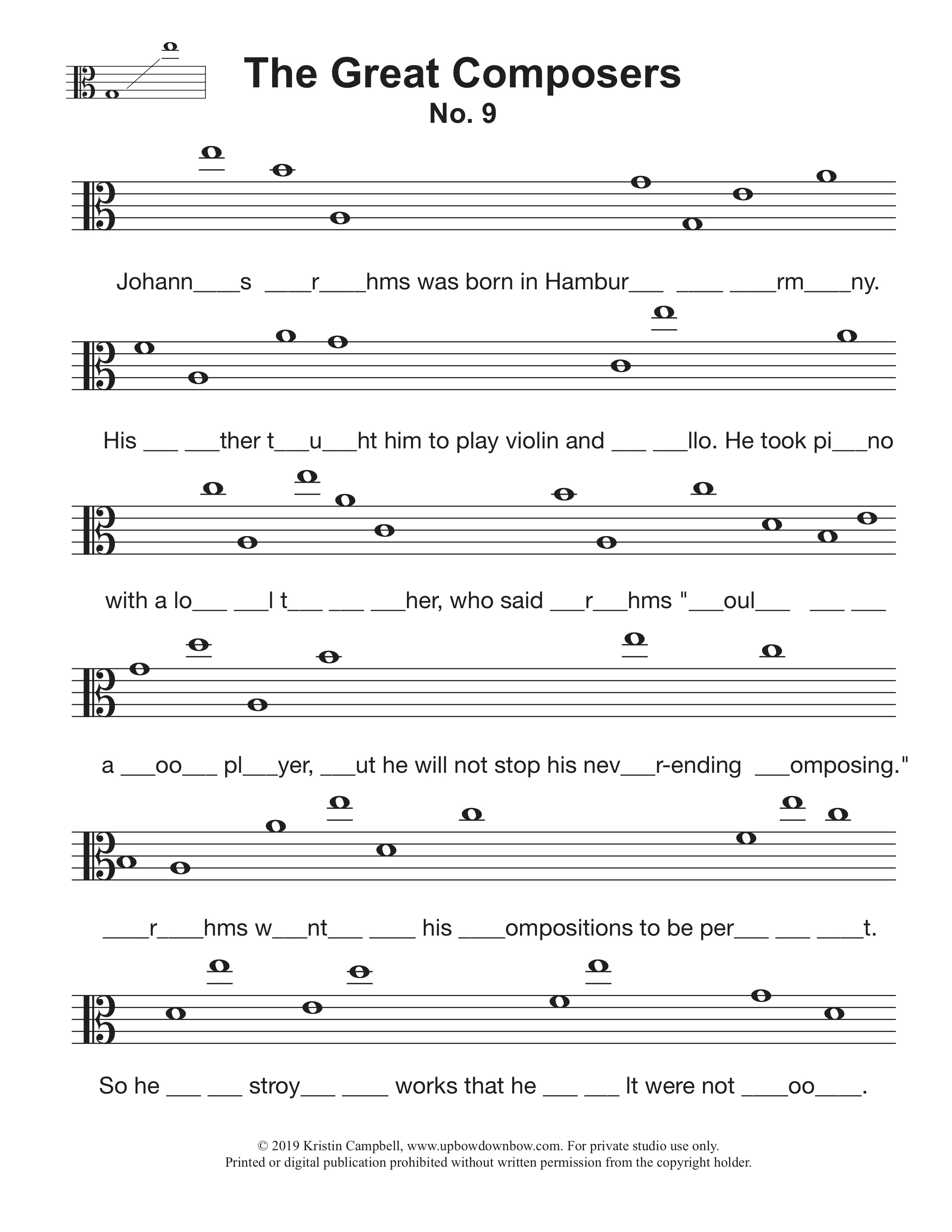 The Great Composers Note Reading Worksheet