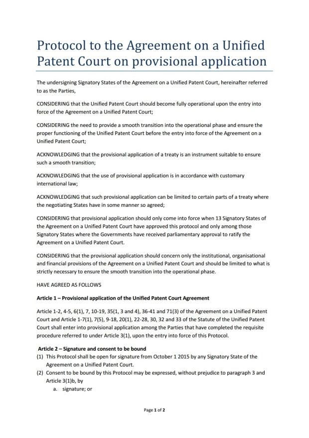 Protocol to the Agreement on Unified Patent Court on provisional application