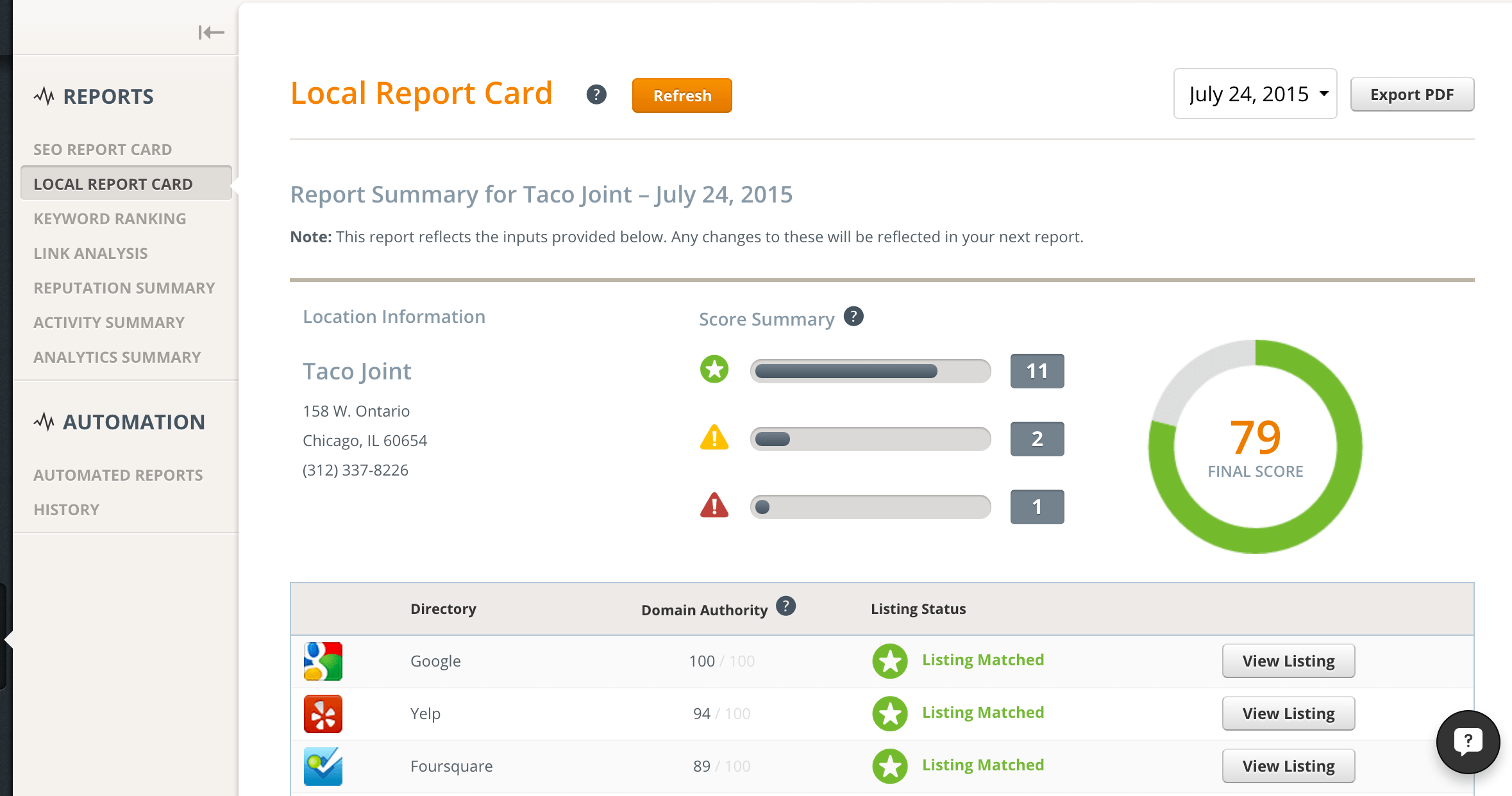Product Update: Local Report Card Is Now Available