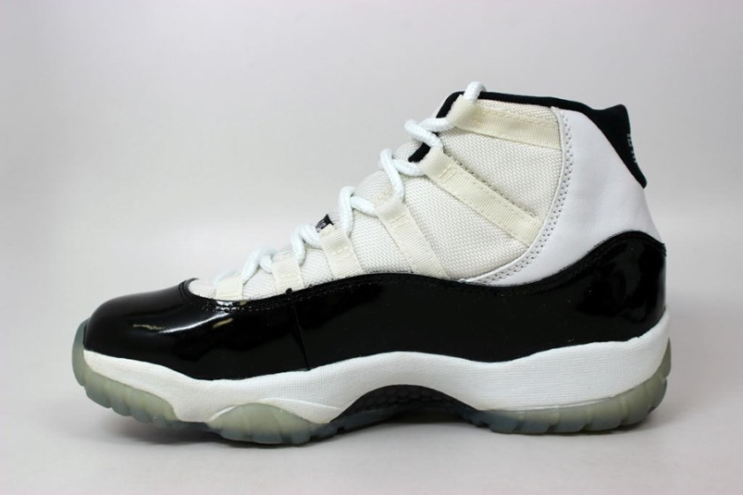 Air Jordan 11 Concord with higher cut patent leather