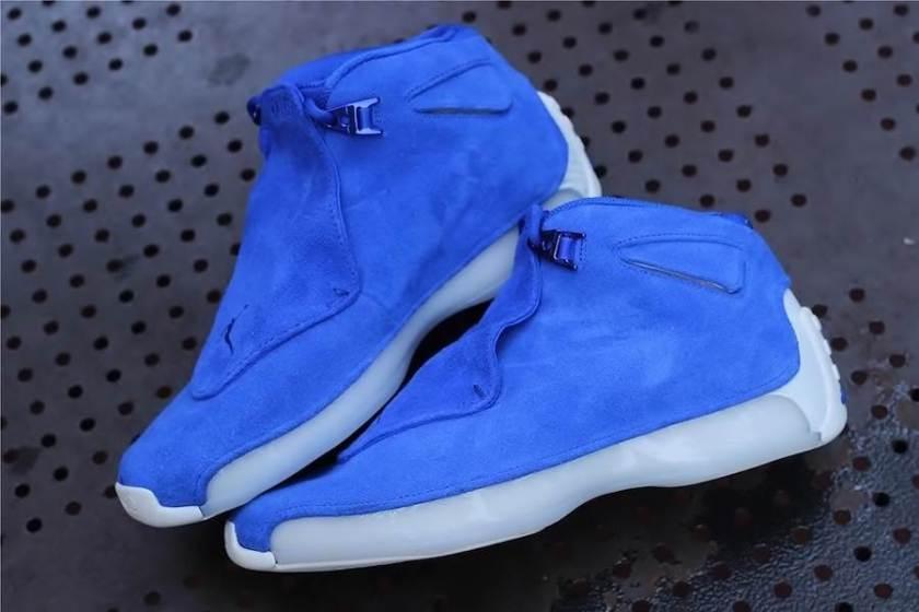 Air Jordan 18 Blue Suede with harmonizing Blue tonal exterior