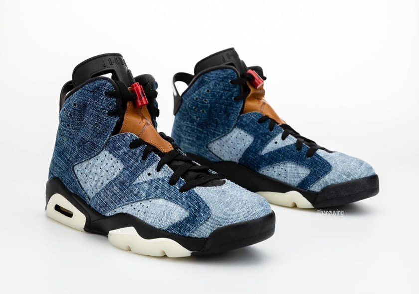Air Jordan 6 Washed Denim with Red leather