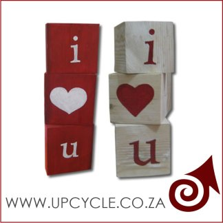 I love you wooden block message gift