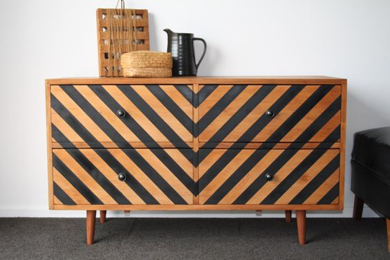 sideboard upcycle with chevrons