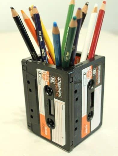 casette tape pencil holder
