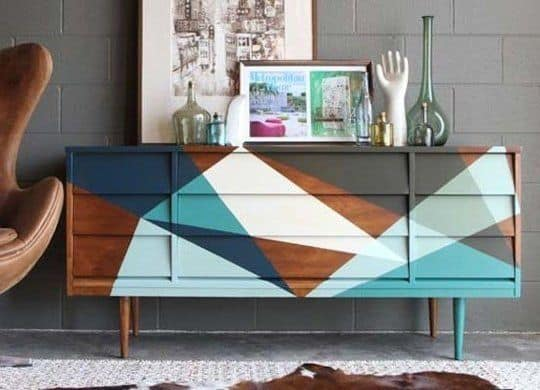 sideboard Upcycle Ideas geometric shapes