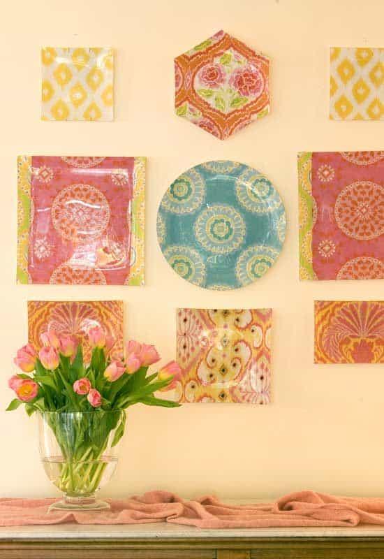 decoupage plates on wall