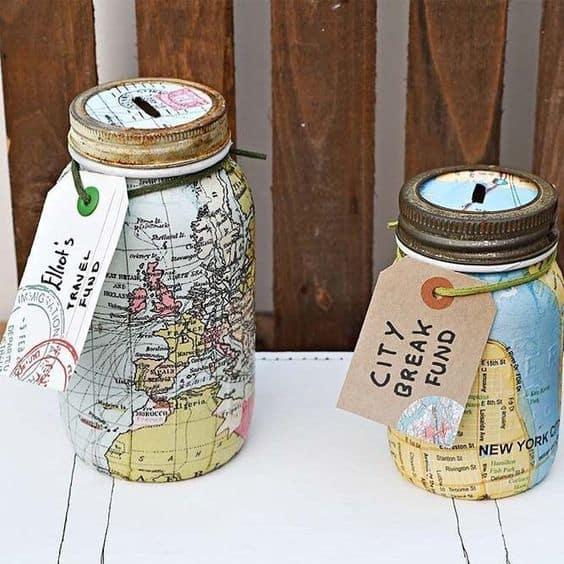 Last minute fathers day gift mason jar money box