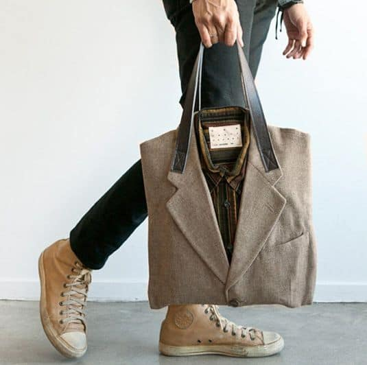 bag upcycled from a suit jacket