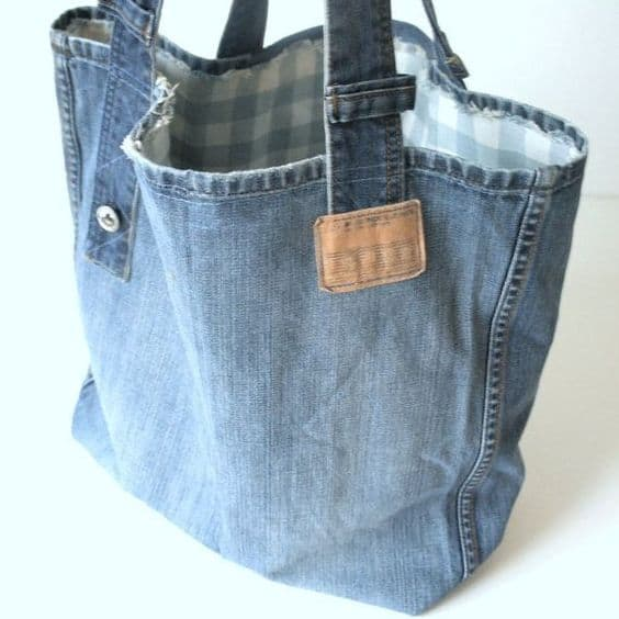 bag made of old blue jeans