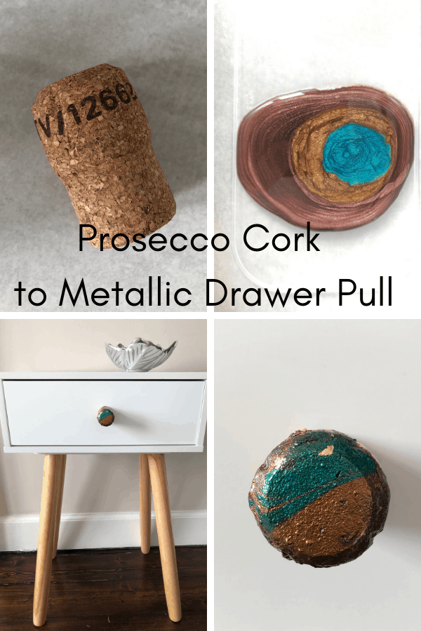 Prosecco cork to metallic drawer pull