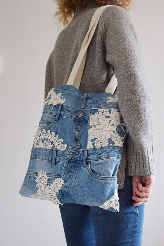 bag made of blue jeans and lace