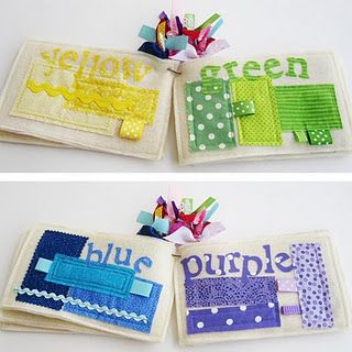 baby busy book colours from scrap fabric