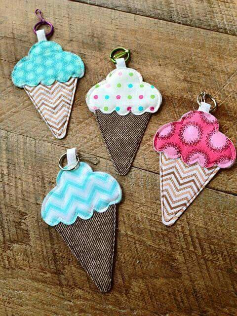 ice cream keychain from scrap fabric
