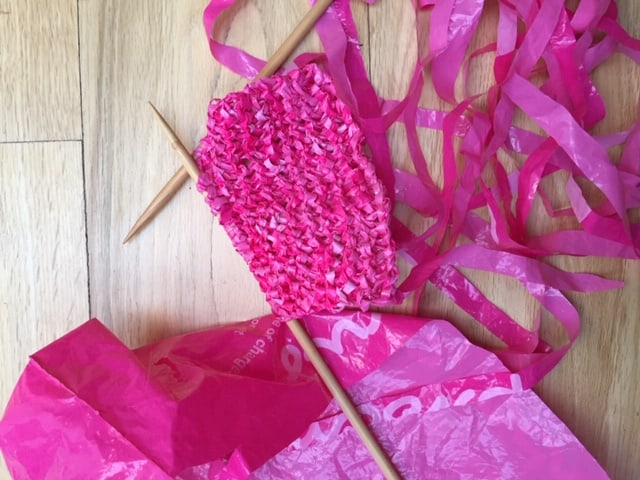knitting plastic carrier bags upcycled dish scrubber