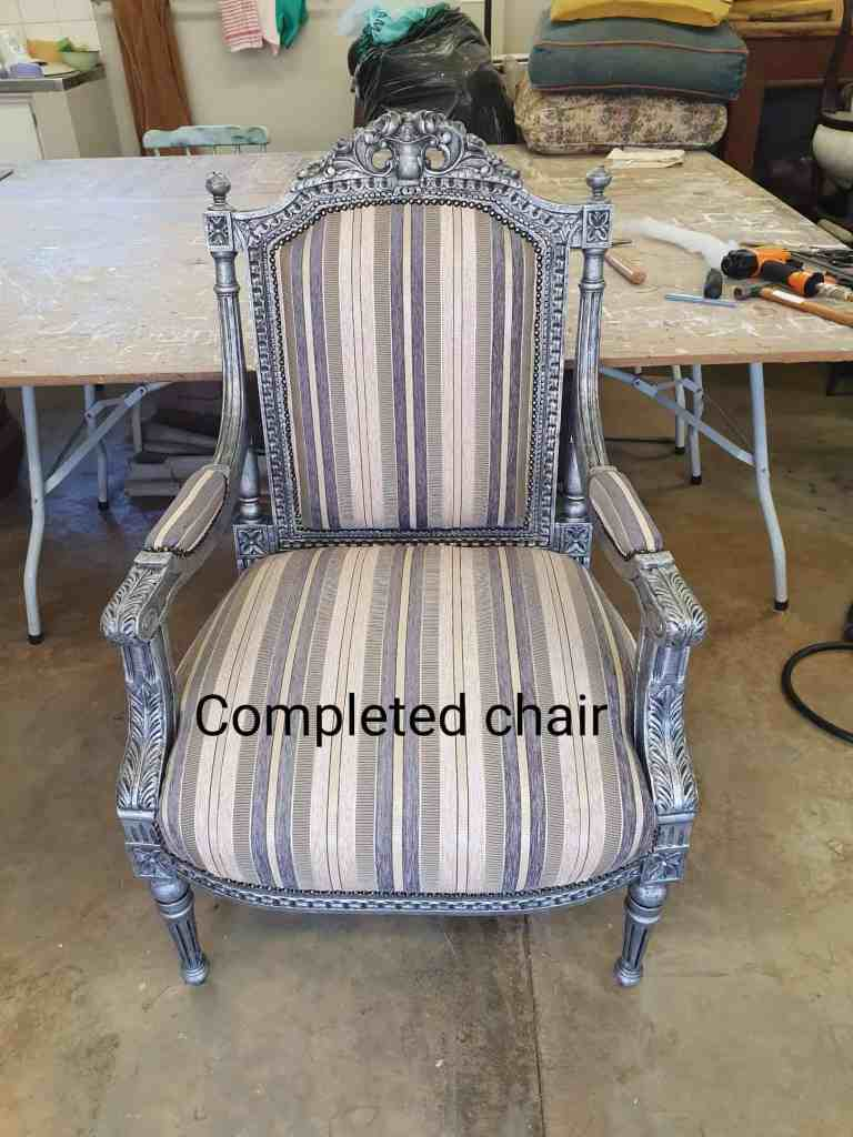 after photo of reupholstered chair