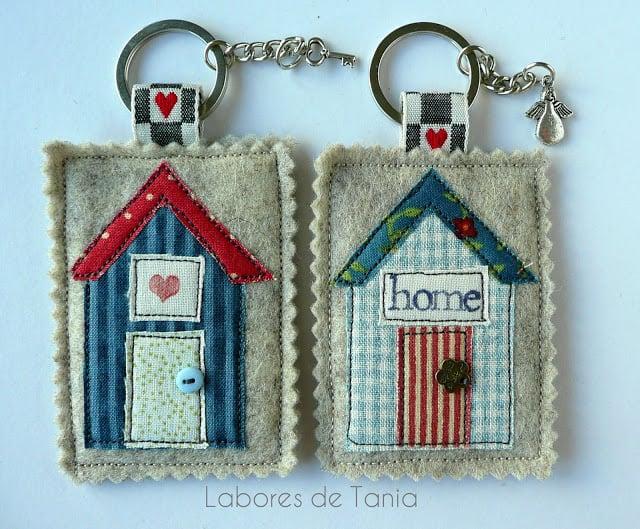 scrap fabric house keychain