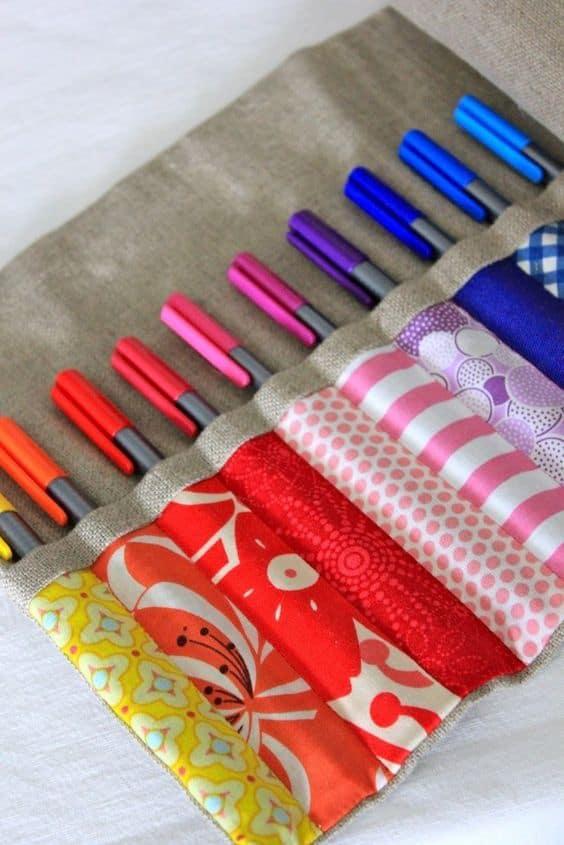 scrap fabric pen holder