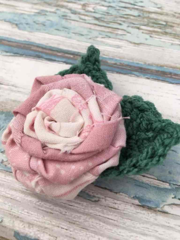 fabric scrap rose brooch