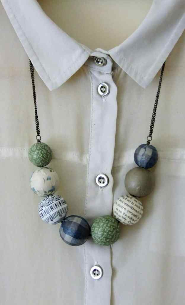 fabric wrapped beads necklace