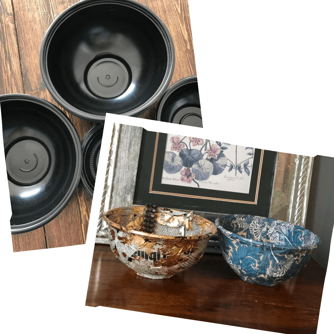 upcycle takeaway containers into trinket bowls tutorial