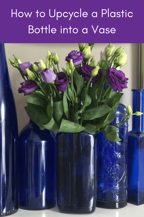 how to upcycle a plastic bottle into a vase