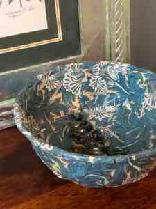 takeaway container upcycled into a William Morris trinket bowl