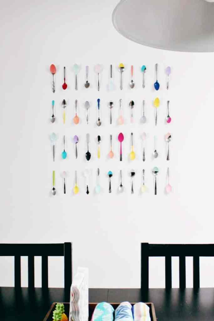 colourful dipped spoon wall display DIY