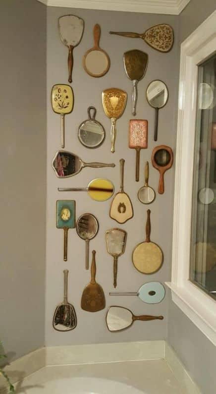 handheld vintage mirror display wall decor idea