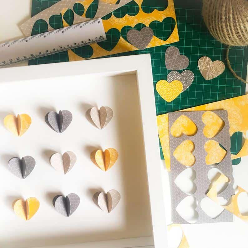 paper heart art for blank walls