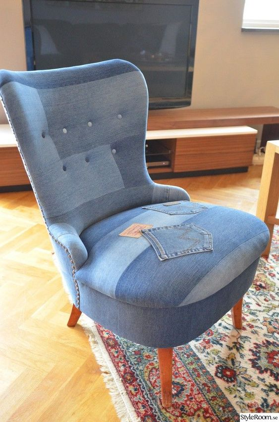 chair upholstered in denim