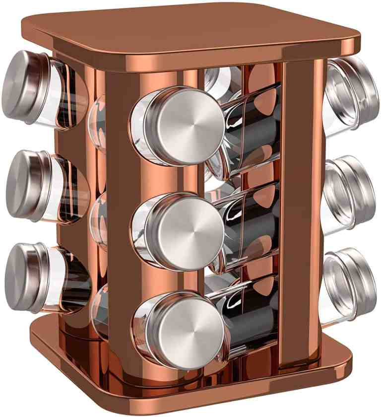 copper spray painted spice rack project idea