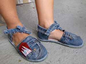 old jeans reused as sandals