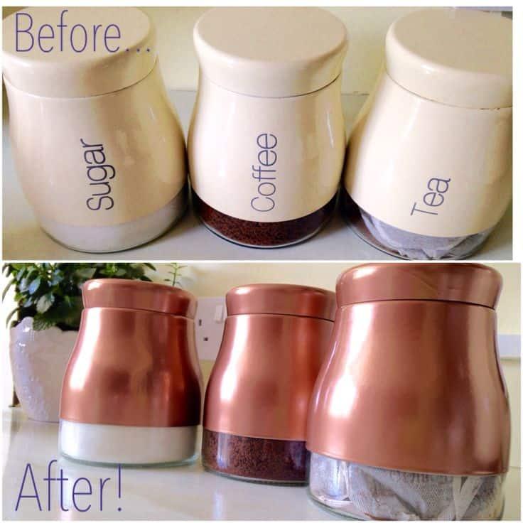 copper spray painted coffee and tea storage jars