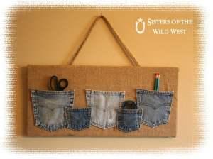 denim pocket organiser from old jeans