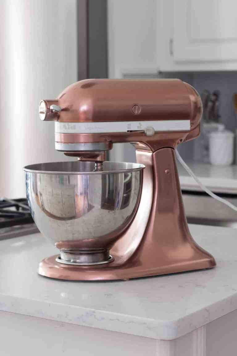 kitchen aid makeover with copper spray paint