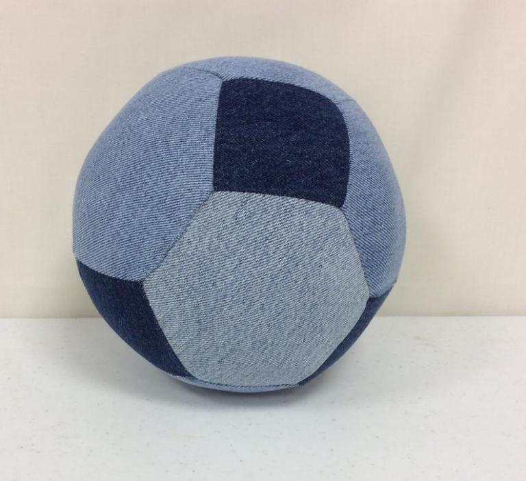 soccer ball made from old blue jeans