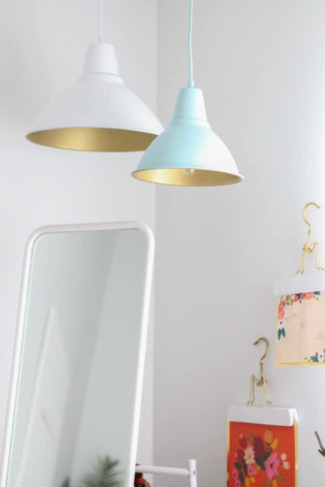 spray paint inside pendant light shade
