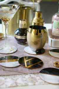 glam diy gold and marble coasters