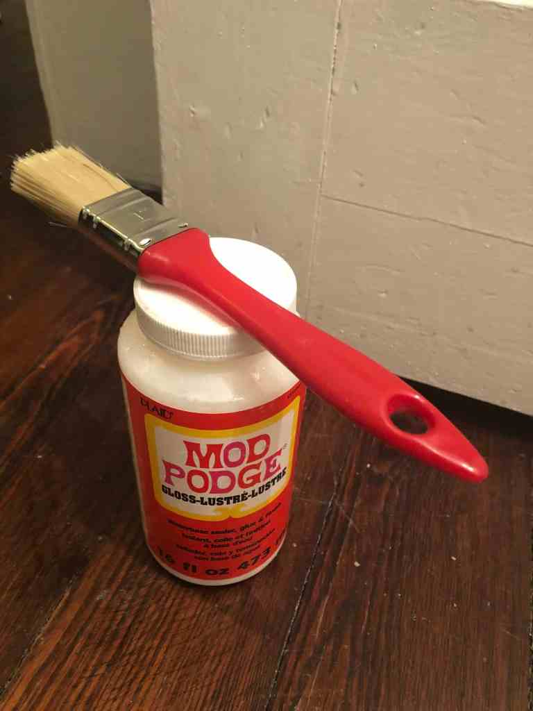 using mod podge as part of a downstairs toilet makeover