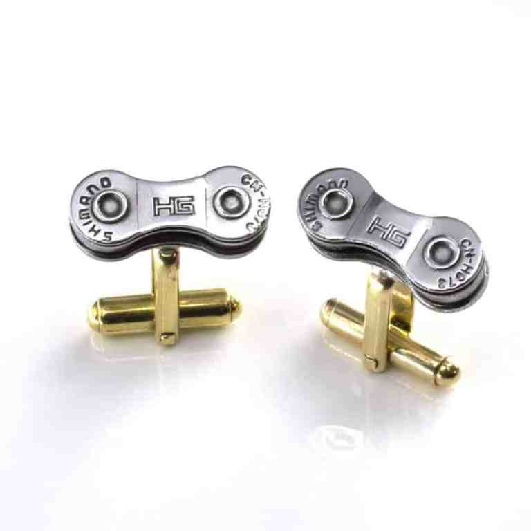 upcycled bicycle chain cufflinks on Etsy
