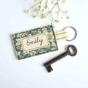 scrap fabric key ring personalised gift